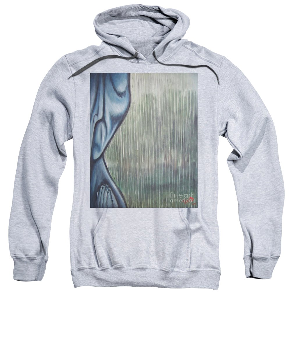 Tmad Sweatshirt featuring the painting Tranquil Rain by Michael TMAD Finney