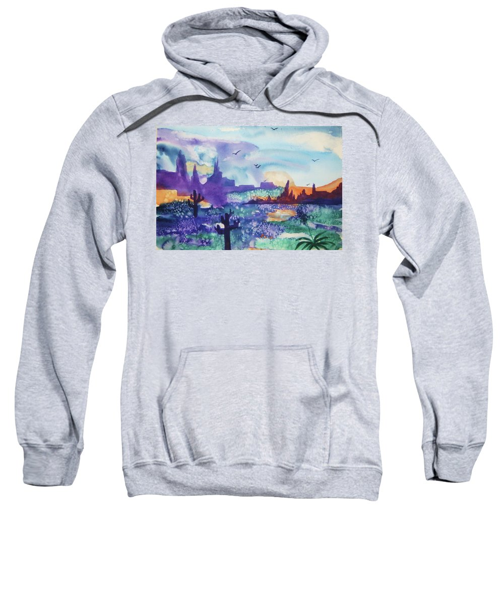 Southwest Sweatshirt featuring the painting Tranquility II by Ellen Levinson