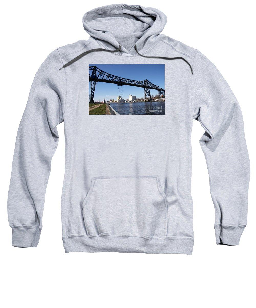 Bridge Sweatshirt featuring the photograph Transporter Brigde - Schwebefaehre Rendsburg by Christiane Schulze Art And Photography