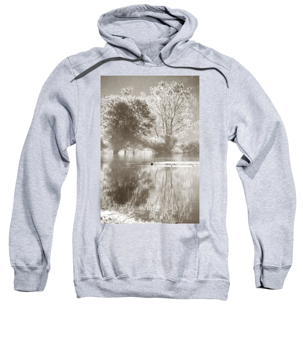 Trees Sweatshirt featuring the photograph Tree Reflections by Sally Bauer
