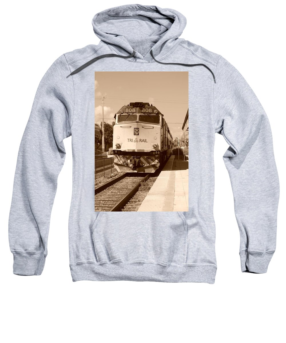 Train Sweatshirt featuring the photograph Tri Rail 808 by Rob Hans