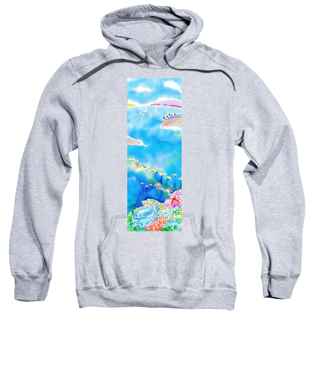 Okinawa Sweatshirt featuring the painting Tropical Fishes by Hisayo Ohta