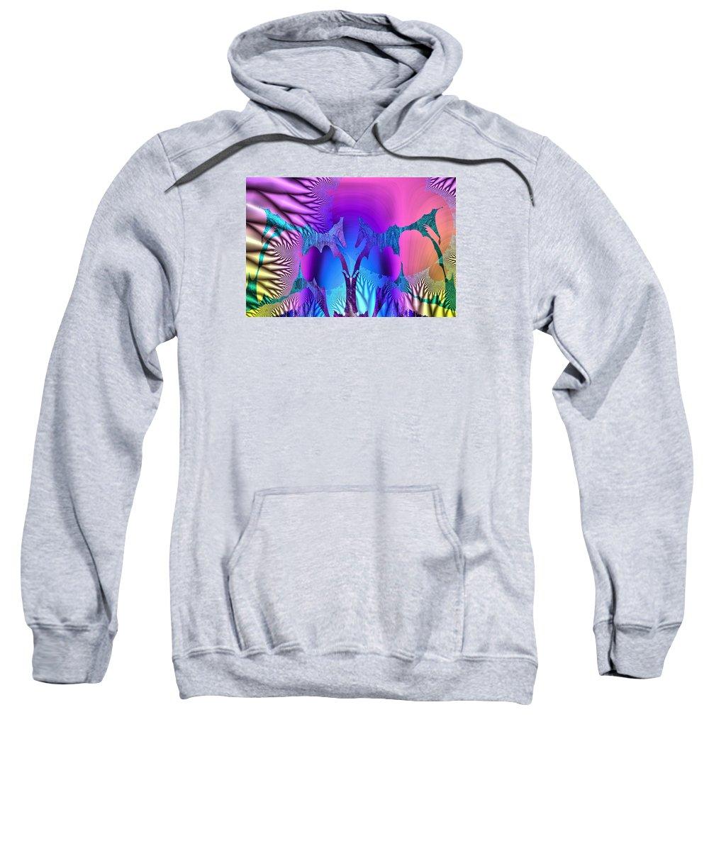 Multi Coloured Sweatshirt featuring the digital art Tropical Fractal by John Lynch