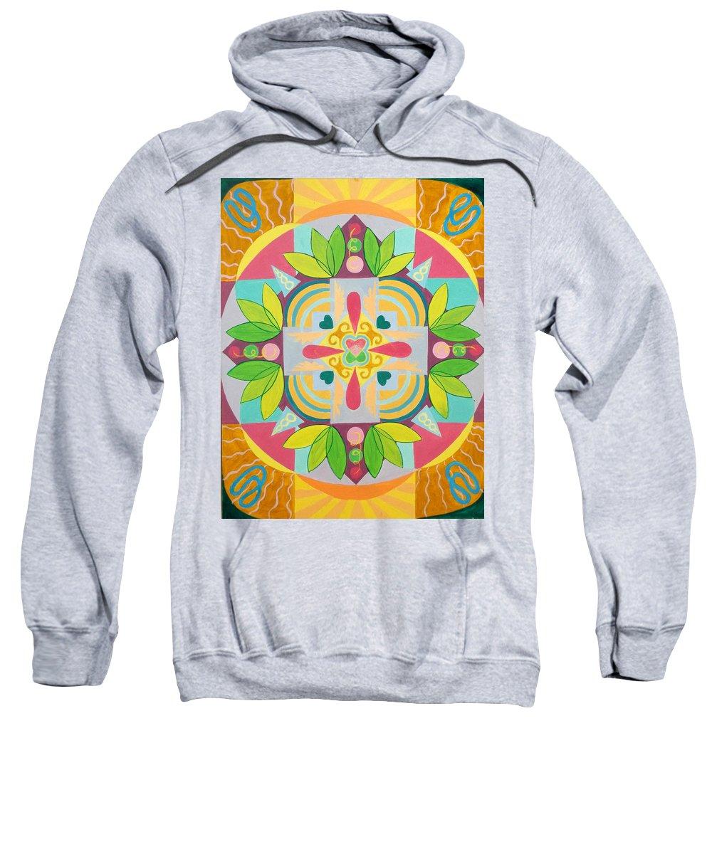 Tropical Sweatshirt featuring the painting Tropical Mandala by Anne Cameron Cutri