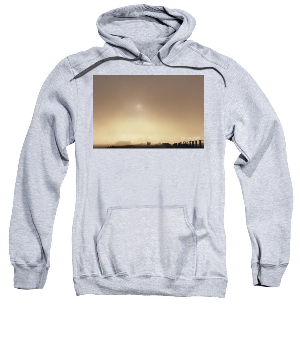 Atmosphere Sweatshirt featuring the photograph Truck Back Road In Fog by Jim Corwin