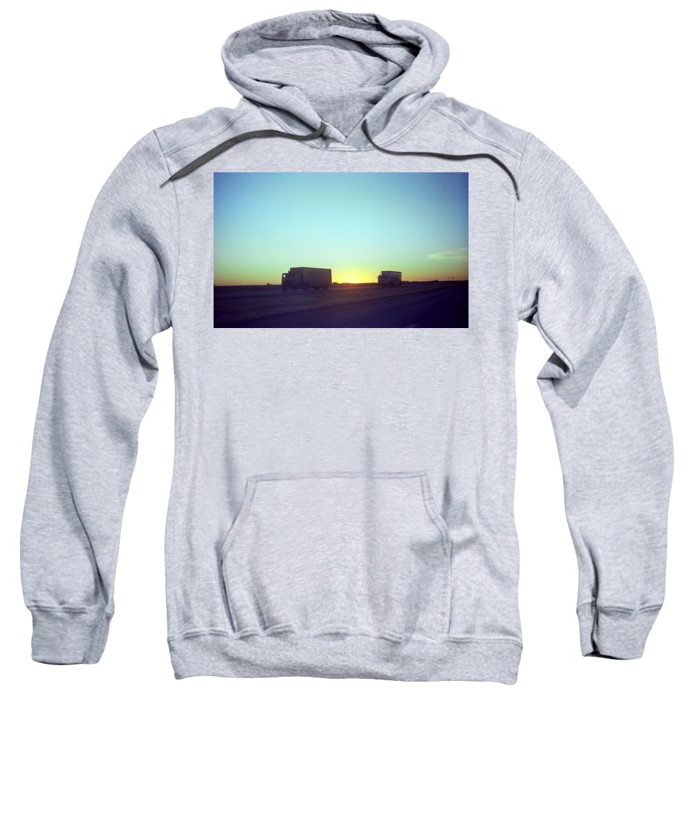 Adventure Sweatshirt featuring the photograph Trucker Sunset by Frank Romeo