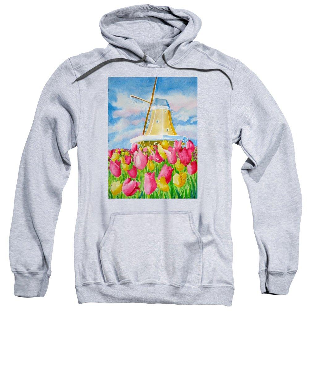 Tulip Sweatshirt featuring the painting Tulip Time by Karen Stark