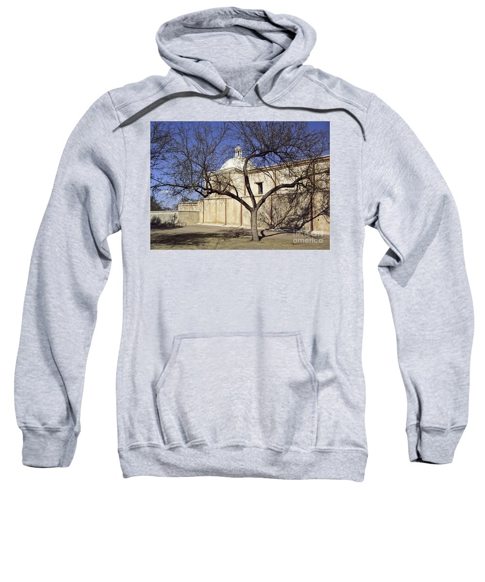 Mission Sweatshirt featuring the photograph Tumacacori With Tree by Kathy McClure