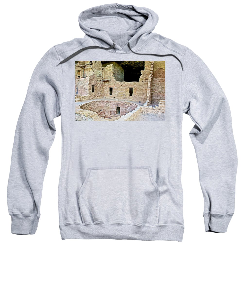 Tunnel Opening In Kiva Of Spruce Tree House On Chapin Mesa In Mesa Verde National Park Sweatshirt featuring the photograph Tunnel Opening In Kiva Of Spruce Tree House On Chapin Mesa In Mesa Verde National Park-colorado by Ruth Hager