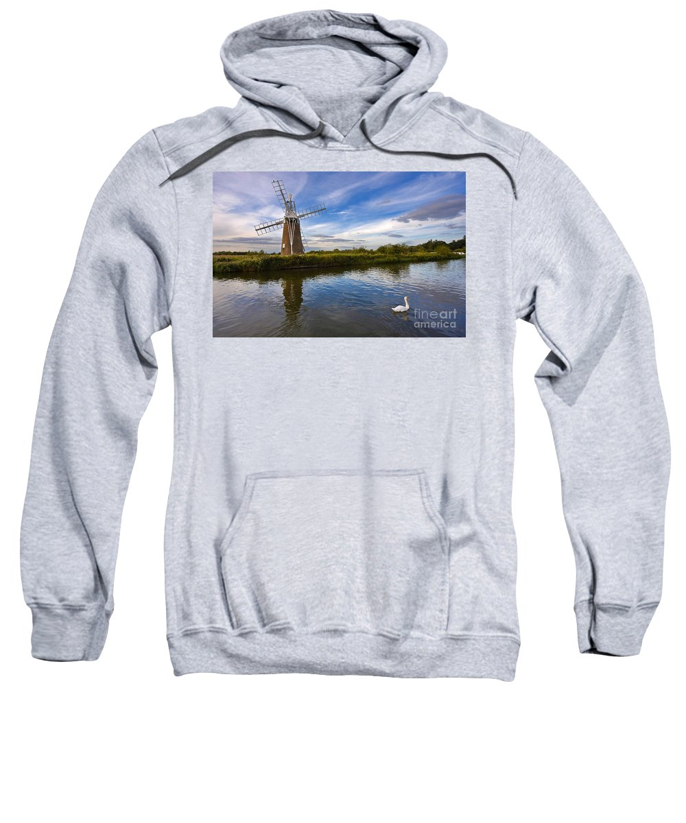 Travel Sweatshirt featuring the photograph Turf Fen Drainage Mill by Louise Heusinkveld