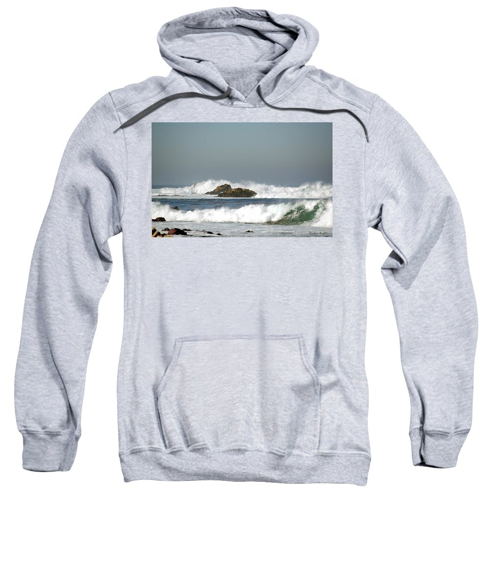 Turquoise Waves Monterey Bay Coastline Sweatshirt featuring the digital art Turquoise Waves Monterey Bay Coastline by Barbara Snyder