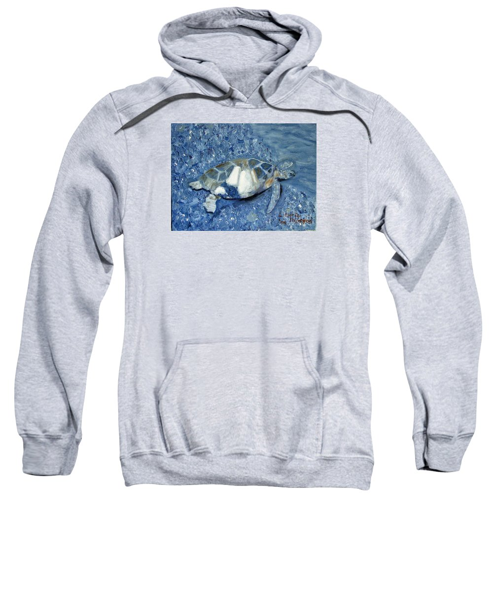 Turtle Sweatshirt featuring the painting Turtle On Black Sand Beach by Laurie Morgan