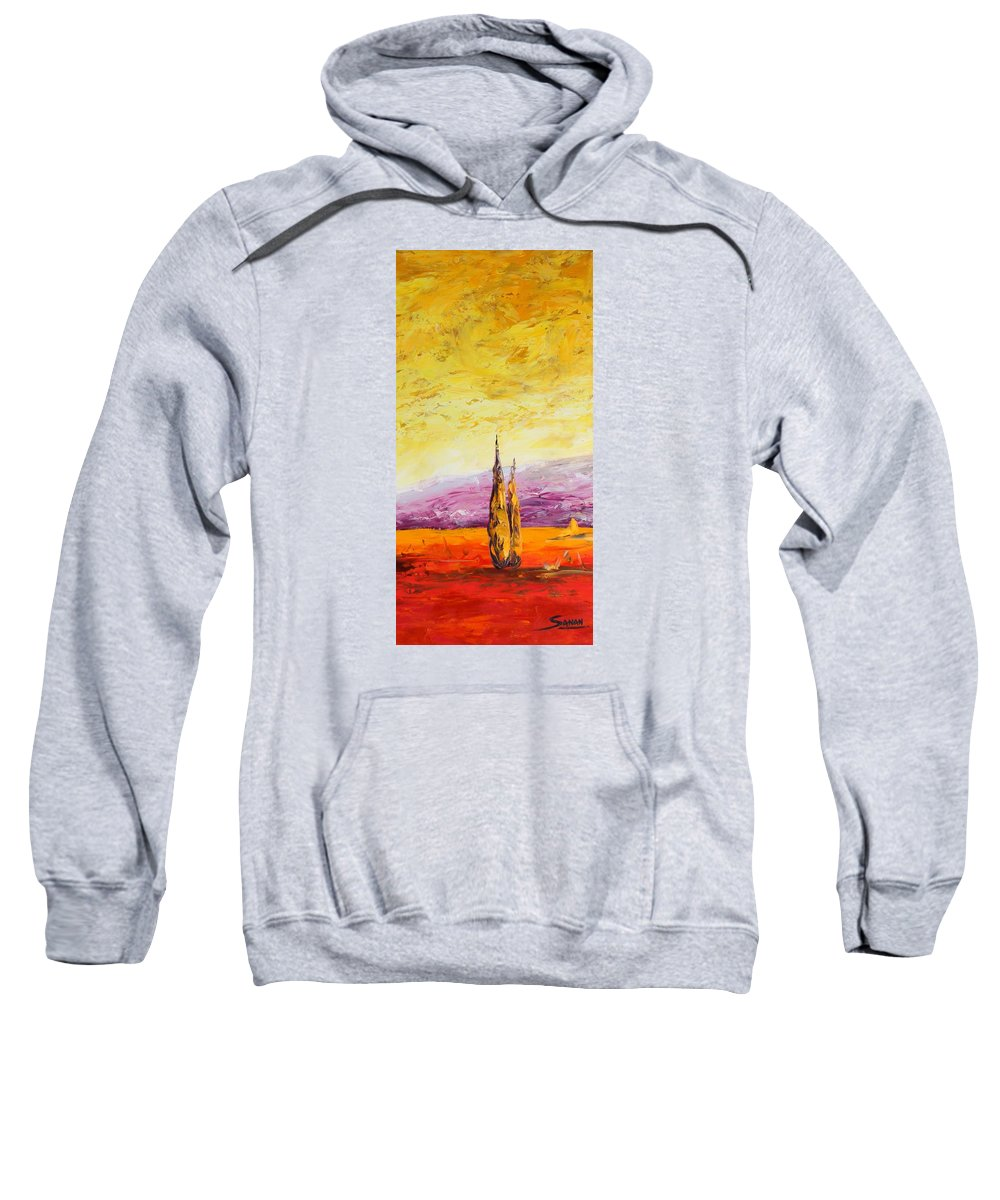 Trees Sweatshirt featuring the painting Tuscan Blast Crop by Andrew Sanan