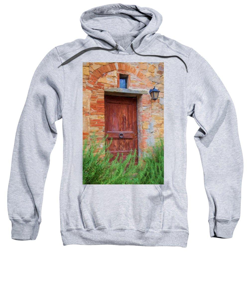 Tuscany Sweatshirt featuring the photograph Tuscan Door by Shirley Radabaugh