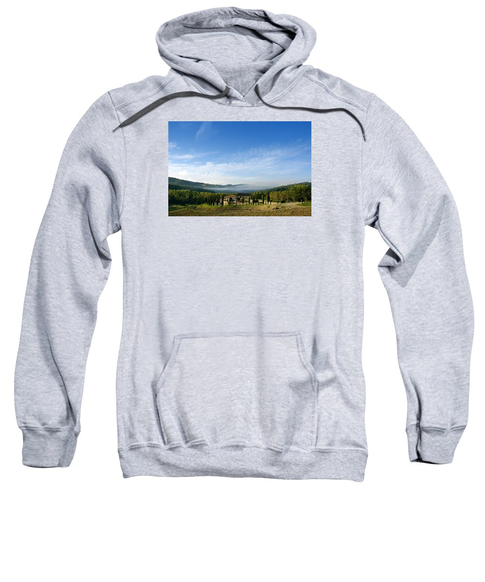 Tuscany Sweatshirt featuring the photograph Tuscan Sky Vineyard by Norman Pogson