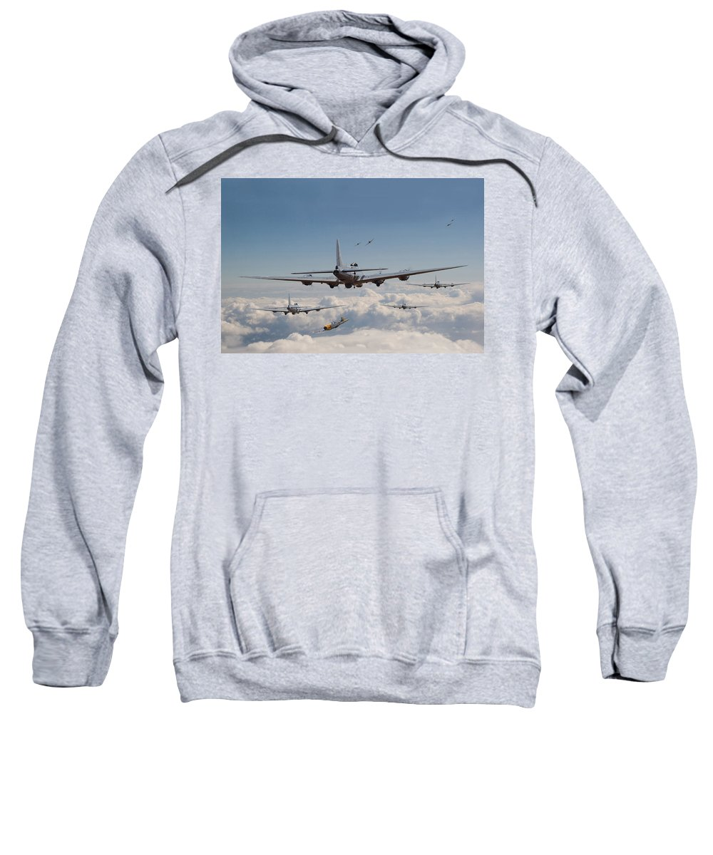 Aircraft Sweatshirt featuring the digital art Twelve Oclock High by Pat Speirs