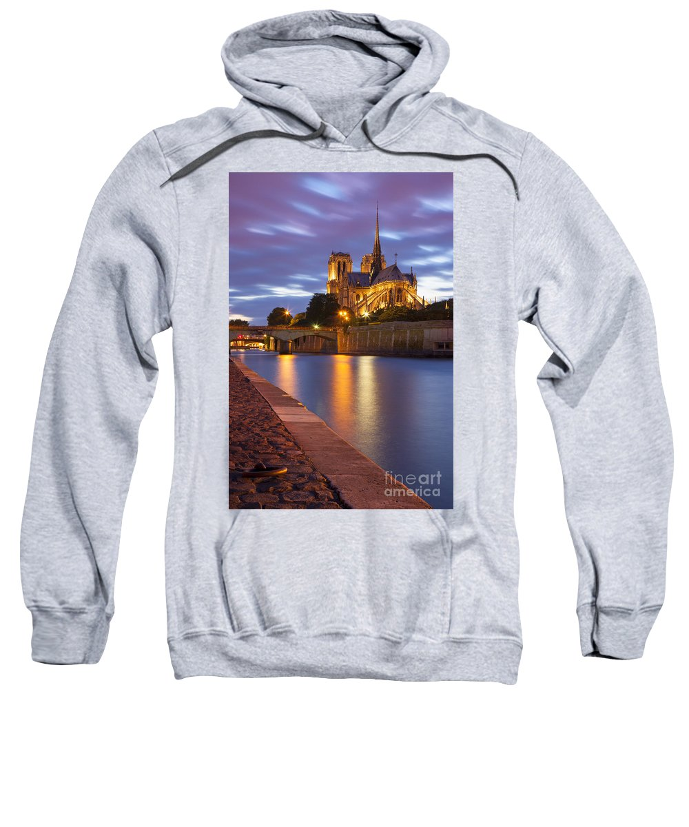 Architectural Sweatshirt featuring the photograph Twilight Over Notre Dame by Brian Jannsen