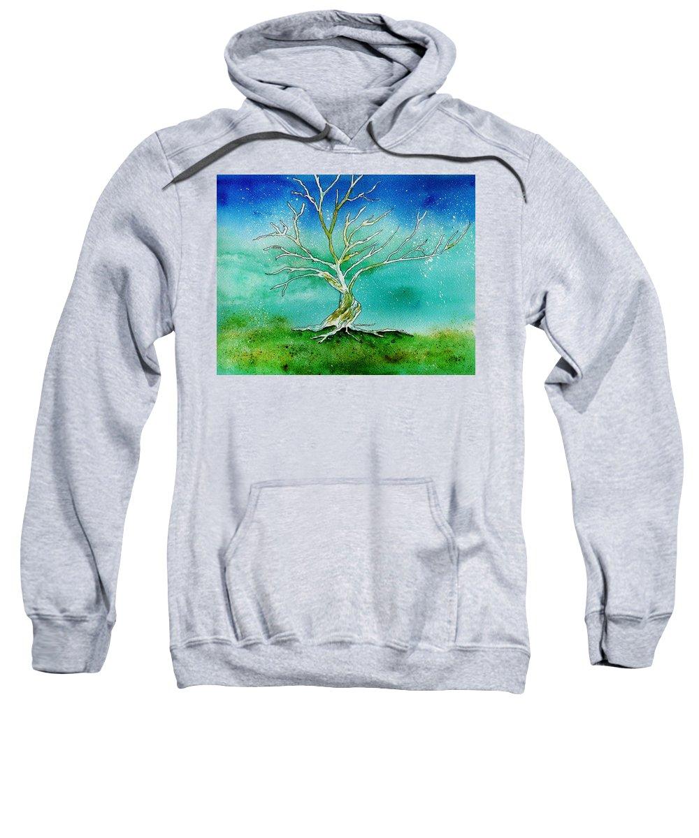 Landscape Sweatshirt featuring the painting Twilight Tree by Brenda Owen