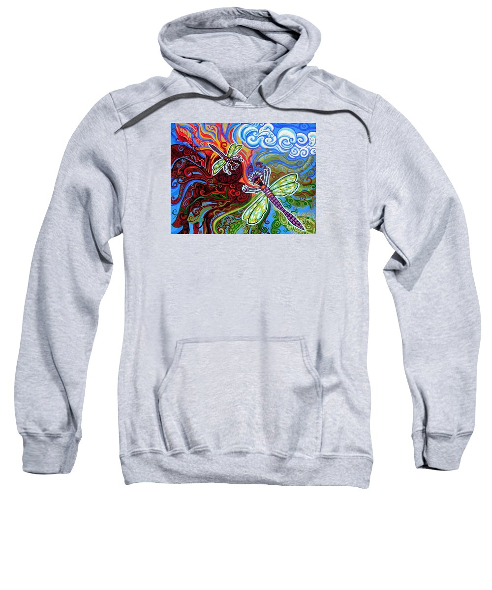 Dragonfly Sweatshirt featuring the painting Two Dragonflies by Genevieve Esson