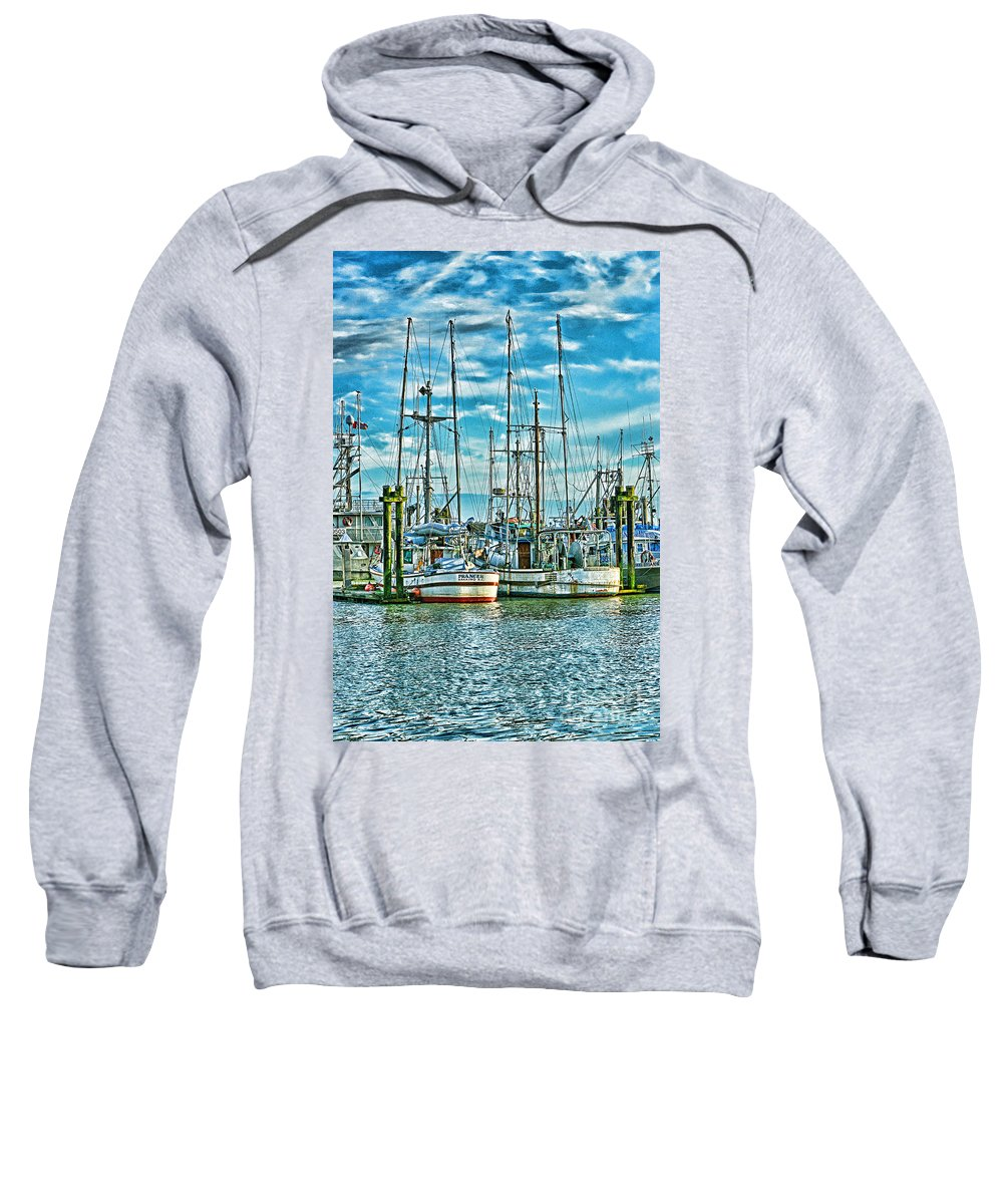 Boats Sweatshirt featuring the photograph Two Fishing Boats Hdr by Randy Harris