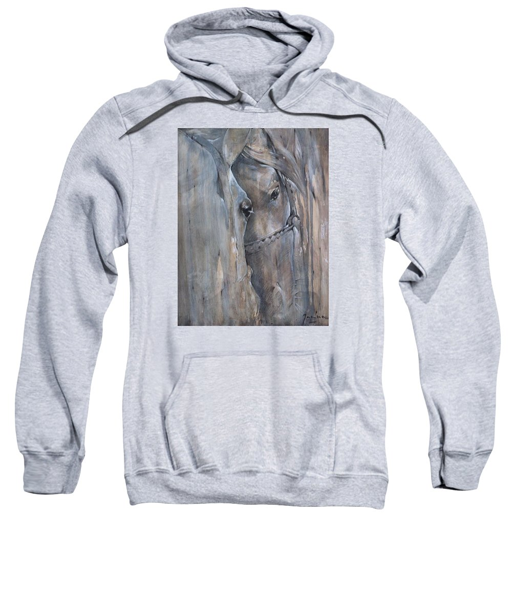 Horses Sweatshirt featuring the painting Two by Janina Pazdan