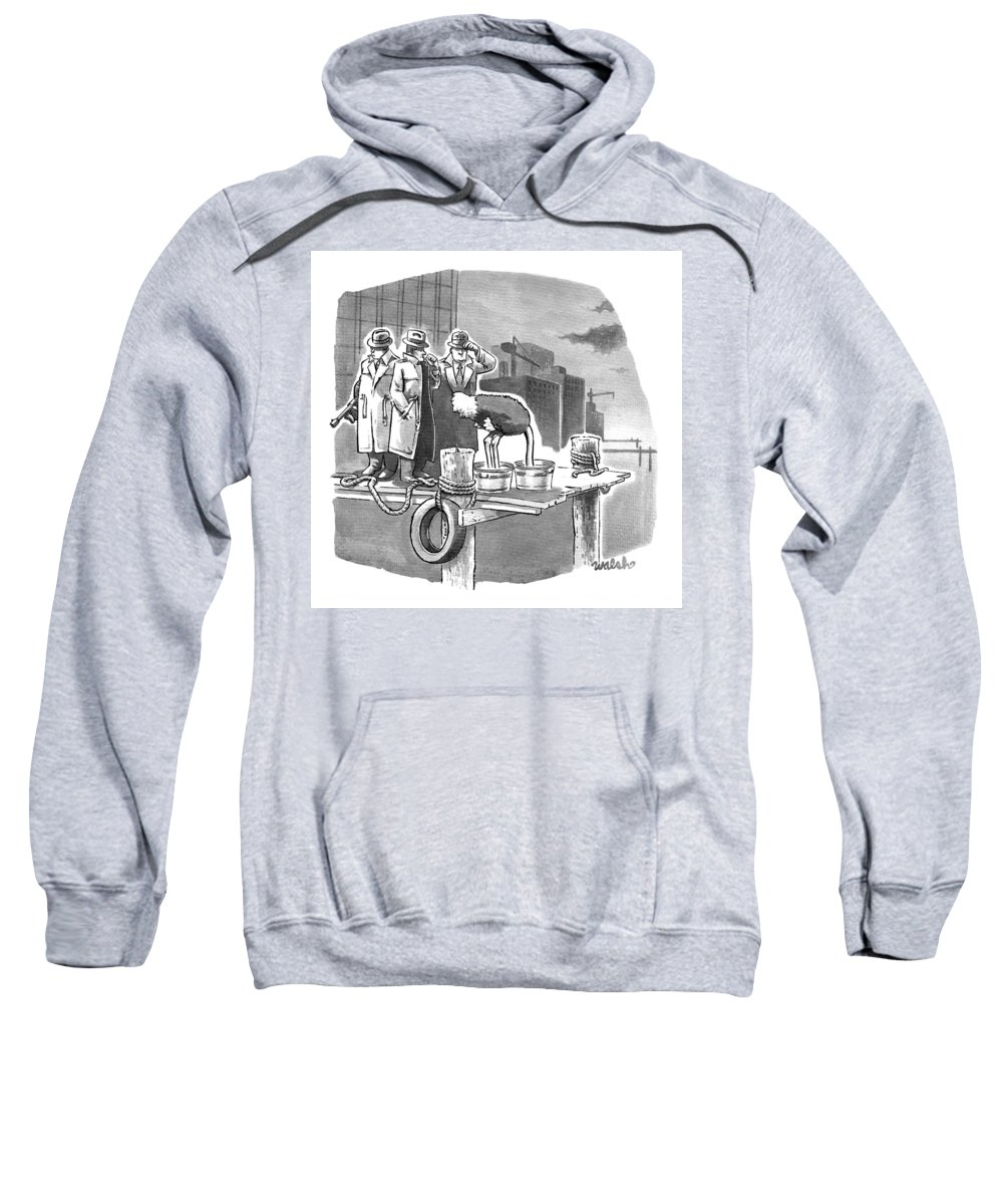 Cement Shoes Sweatshirt featuring the drawing Two Mobsters Stand Behind An Ostrich by Liam Walsh