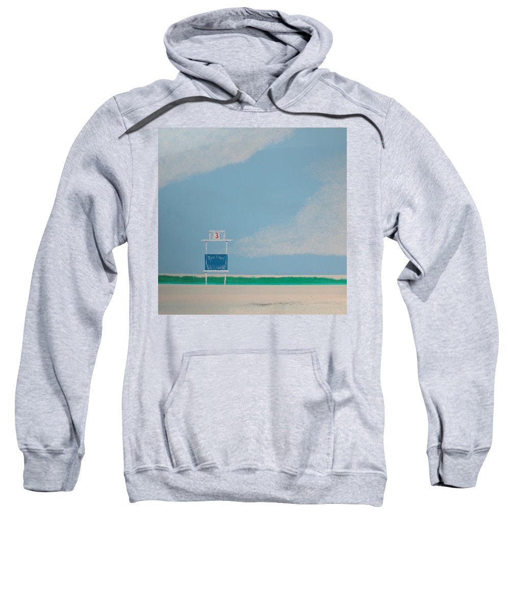 Beach Sweatshirt featuring the painting Tybee Island 3rd Street Guard Stand by Rhodes Rumsey