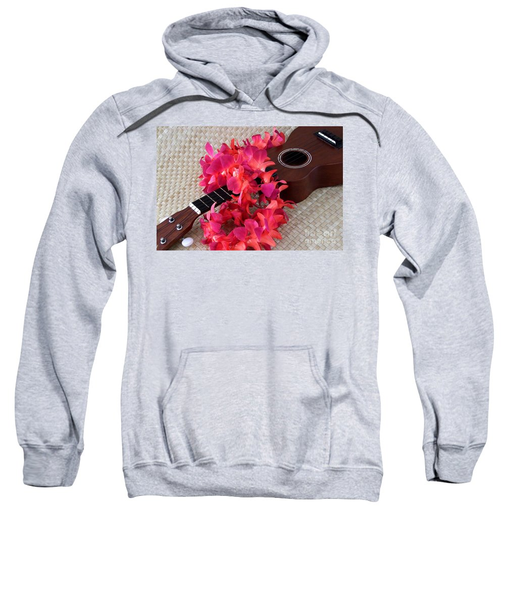 Ukulele Sweatshirt featuring the photograph Ukulele And Red Lei by Mary Deal