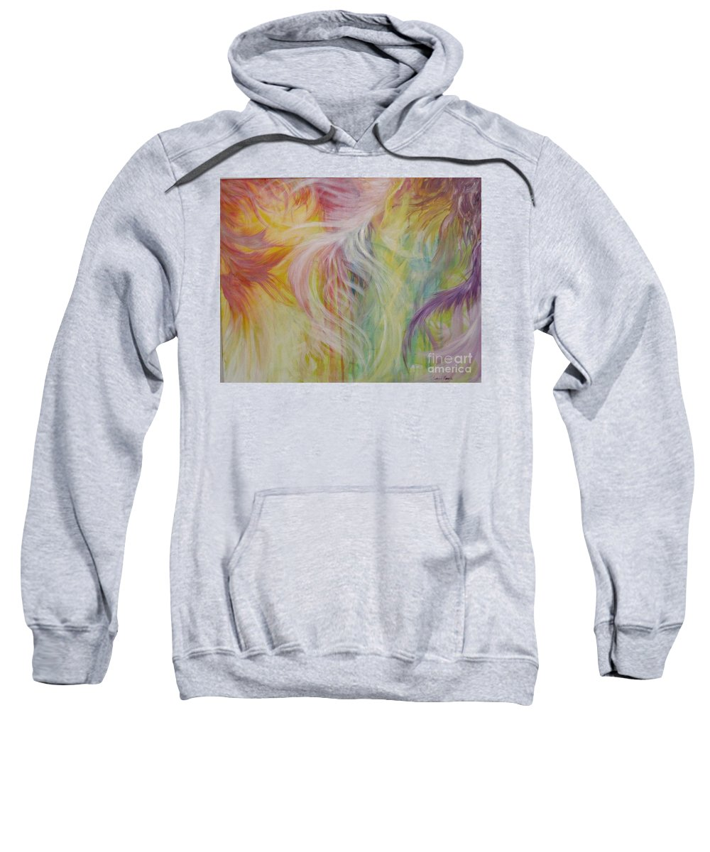 Acrylic Painting Sweatshirt featuring the painting Under His Wings by Susan Harris