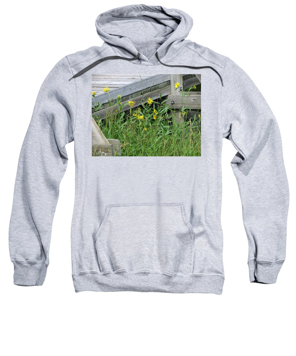 Yellow Flowers Sweatshirt featuring the photograph Under The Boardwalk by Laurel Powell