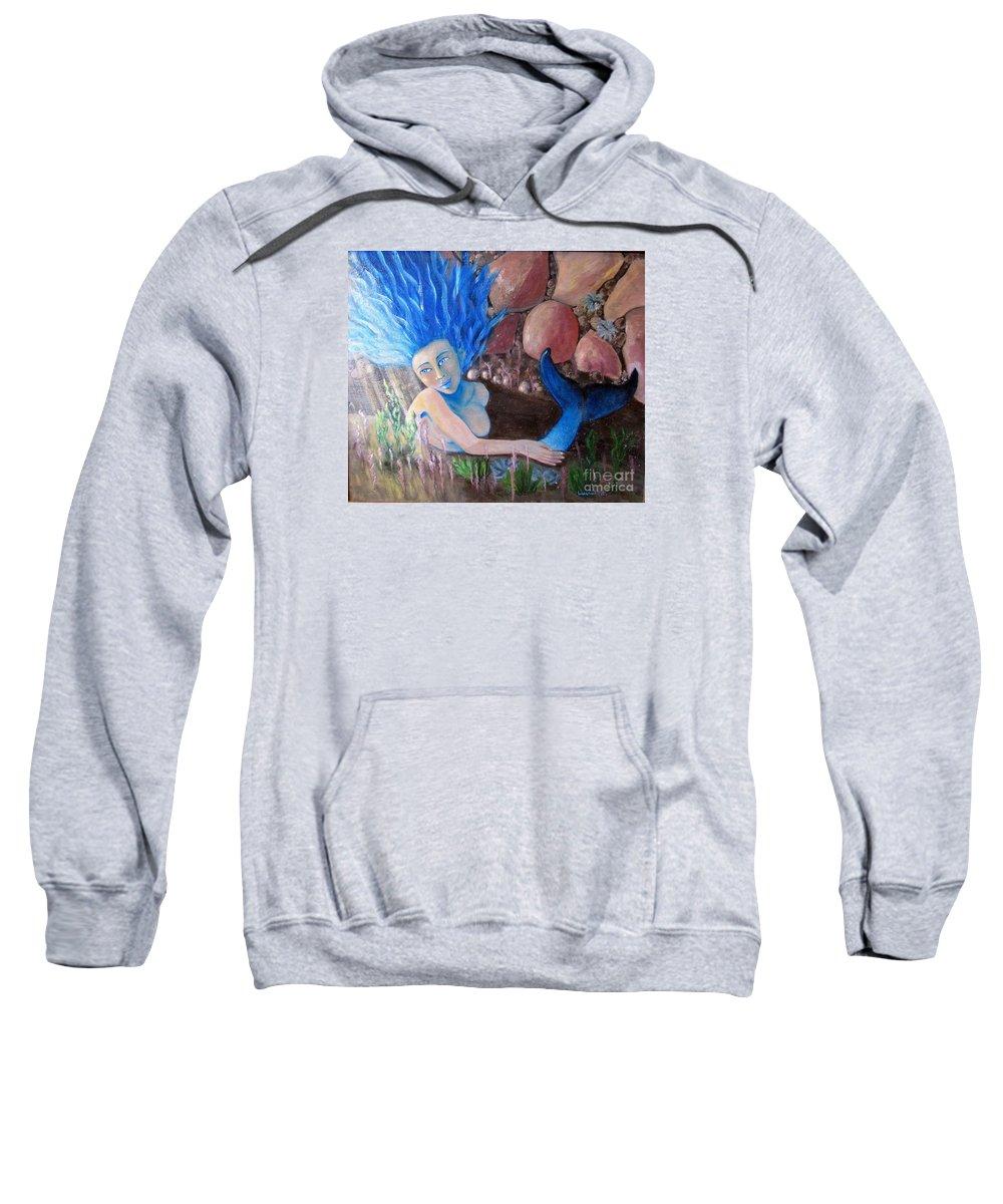 Mermaid Sweatshirt featuring the painting Underwater Wonder by Laurie Morgan