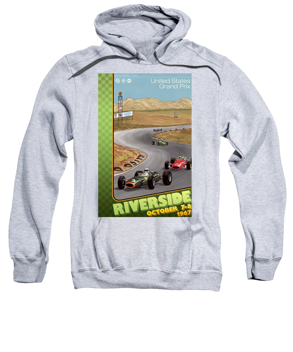 United States Sweatshirt featuring the digital art United States Riverside Grand Prix 1967 by Georgia Fowler