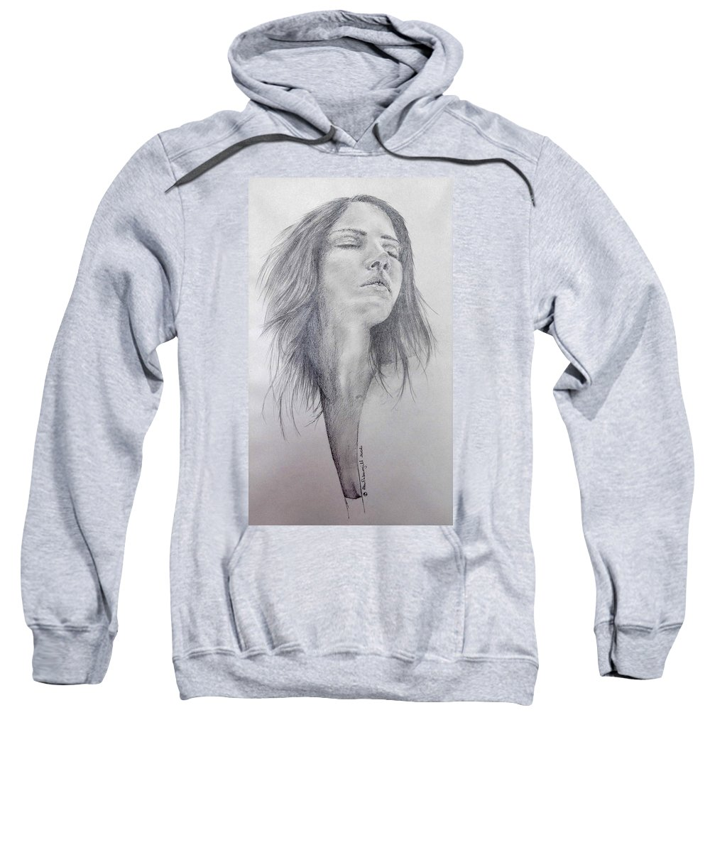 Model Sweatshirt featuring the drawing Unknown Model - 1 by Alan Pickersgill
