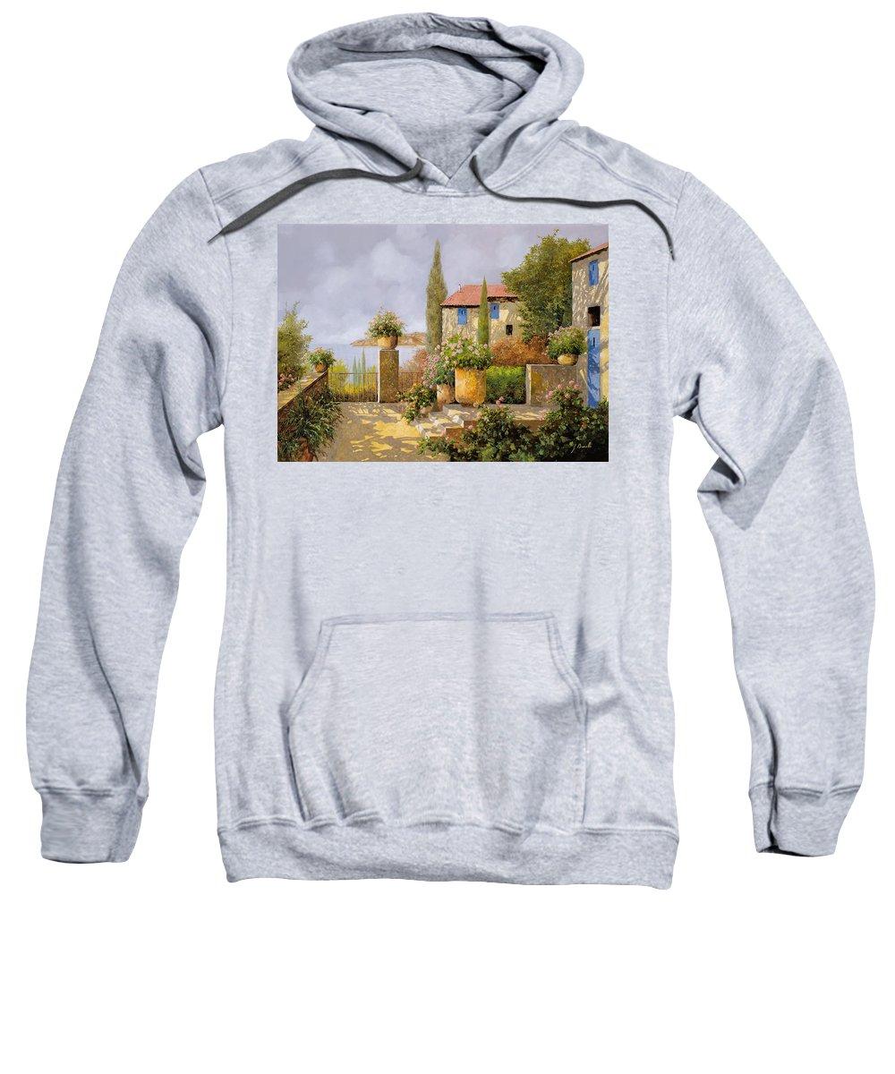 Terrace Sweatshirt featuring the painting Uno Sguardo Sul Mare by Guido Borelli