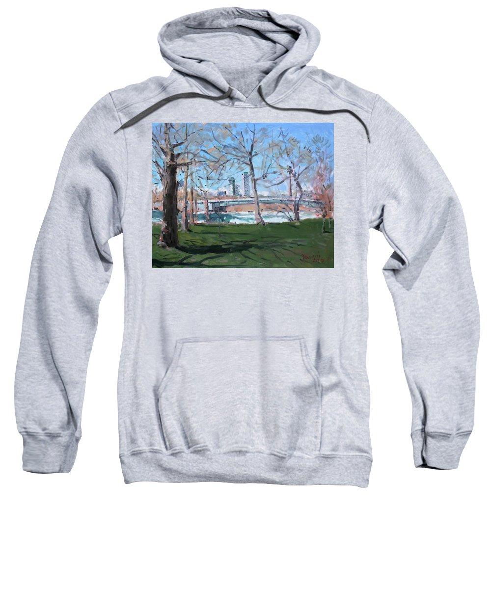 Upper Rapids Sweatshirt featuring the painting Upper Rapids Of Niagara Falls Ny by Ylli Haruni