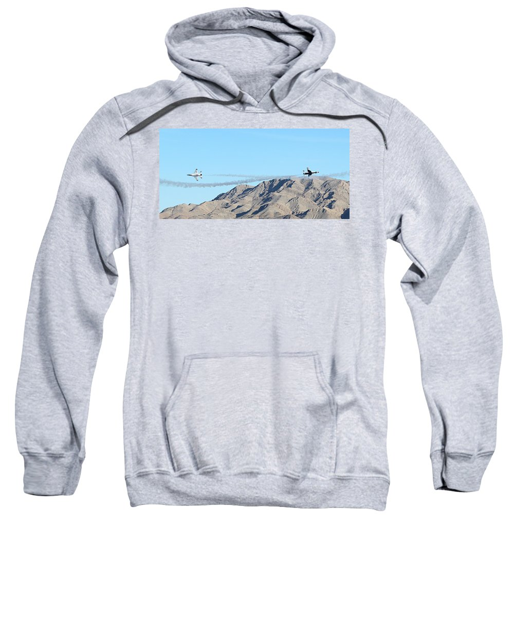 Thunderbirds Sweatshirt featuring the photograph Usaf Thunderbirds Precision Flying Two by Carl Deaville