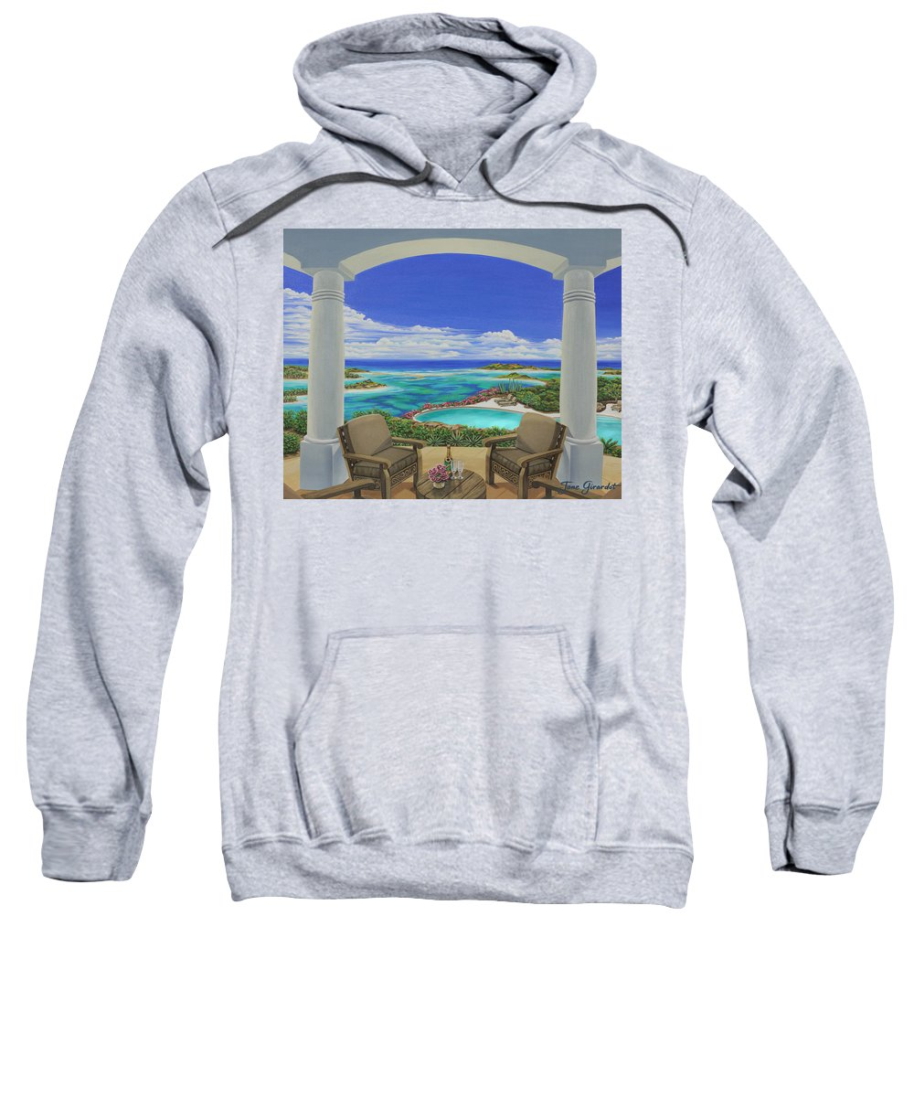 Ocean Sweatshirt featuring the painting Vacation View by Jane Girardot