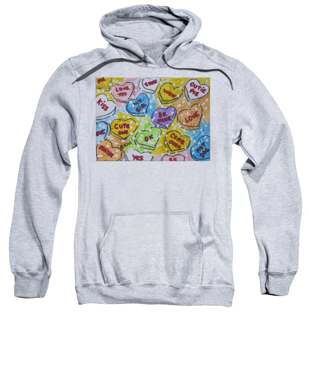 Valentine Sweatshirt featuring the painting Valentine Candy Hearts by Kathy Marrs Chandler