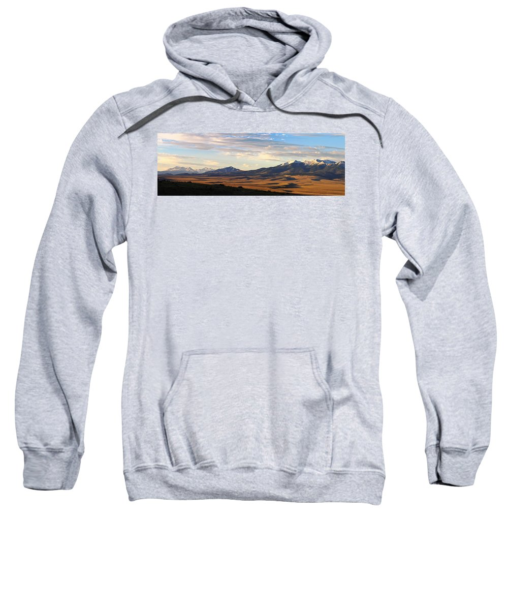 Colorado Photographs Sweatshirt featuring the photograph Valley Shadows Snowy Peaks by Gary Benson