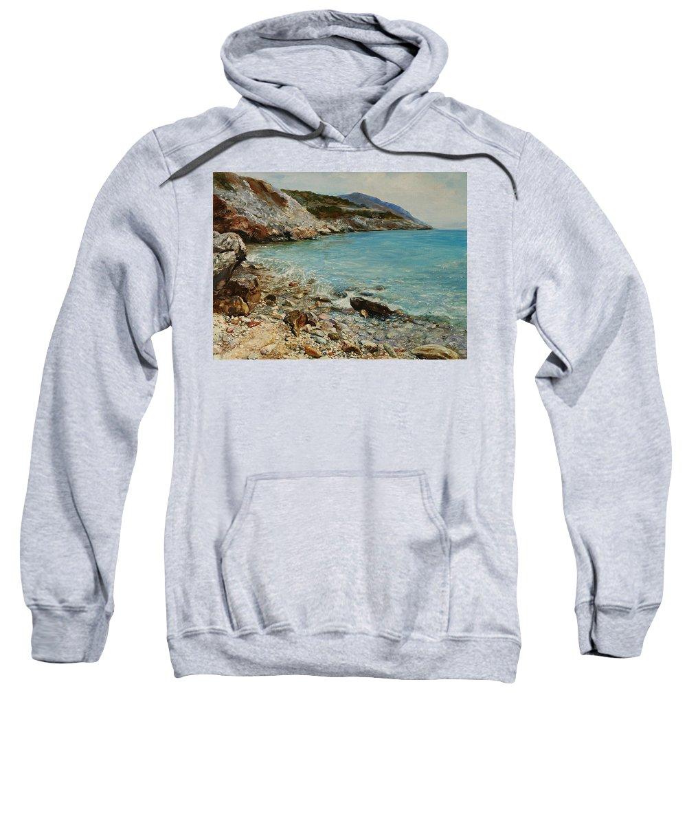 Seascape Sweatshirt featuring the painting Varkiza by Sefedin Stafa