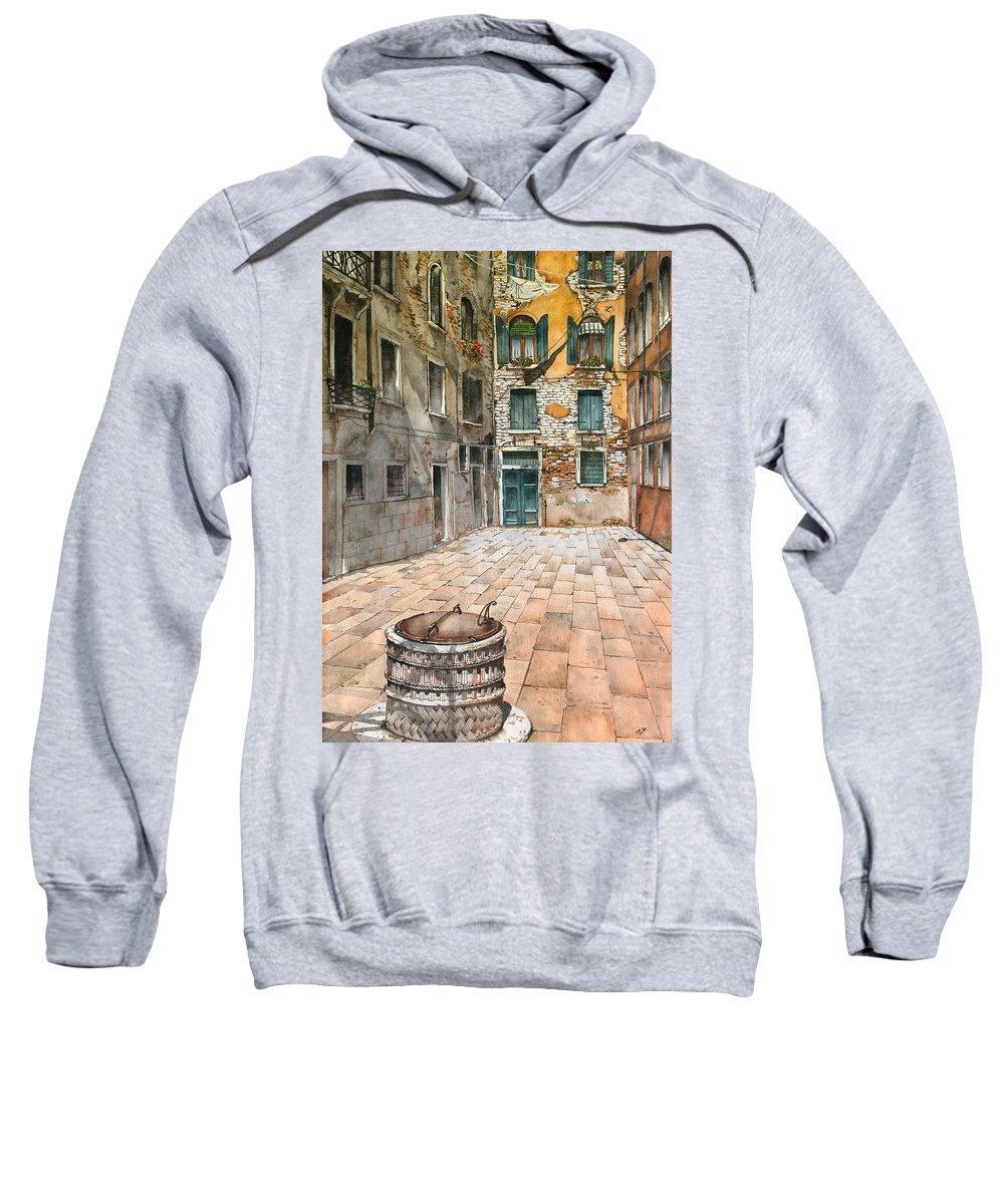 Venice Sweatshirt featuring the painting Venetian Courtyard 02 Elena Yakubovich by Elena Yakubovich