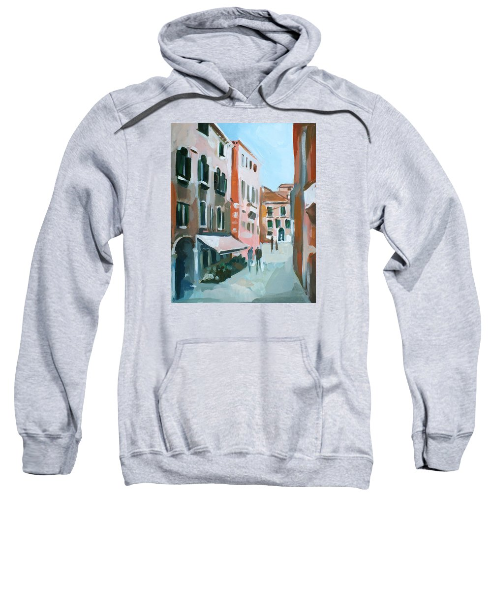 Original Landscape Sweatshirt featuring the painting Venetian Street by Filip Mihail