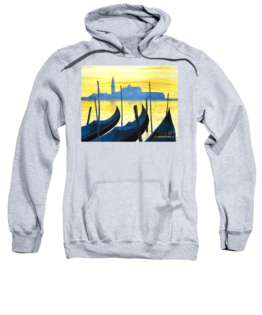 Venice Sweatshirt featuring the painting Venezia Venice Italy by Jerome Stumphauzer