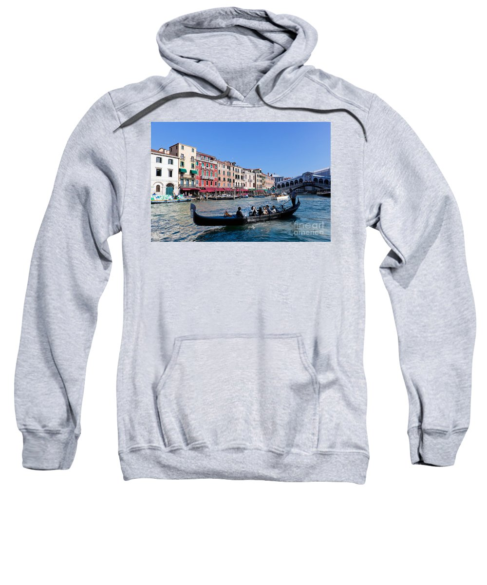Venice Sweatshirt featuring the photograph Venice Italy Gondola With Tourists Floats On Grand Canal by Michal Bednarek