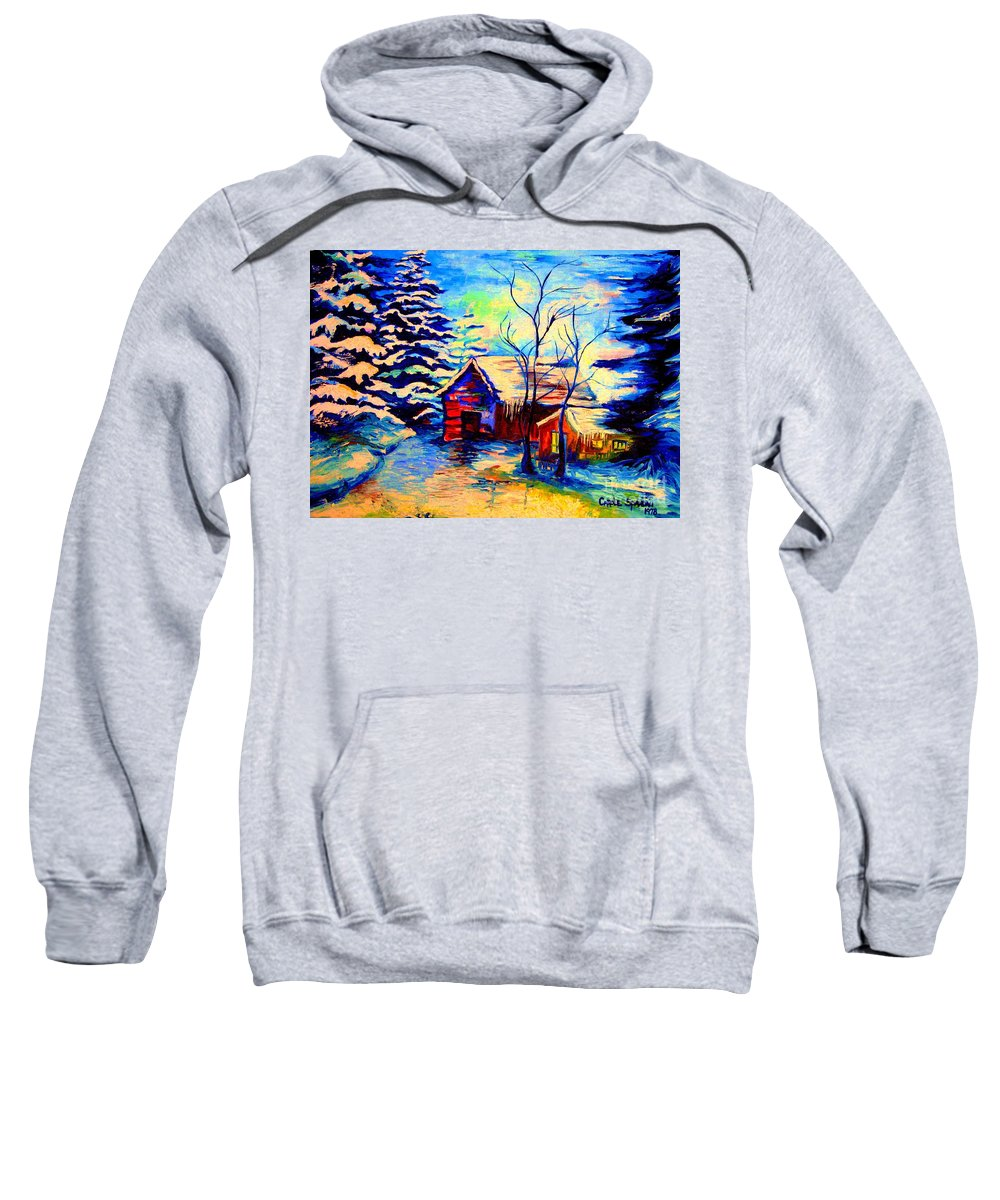 Vermont Winterscenes Sweatshirt featuring the painting Vermont Winterscene In Blues By Montreal Streetscene Artist Carole Spandau by Carole Spandau