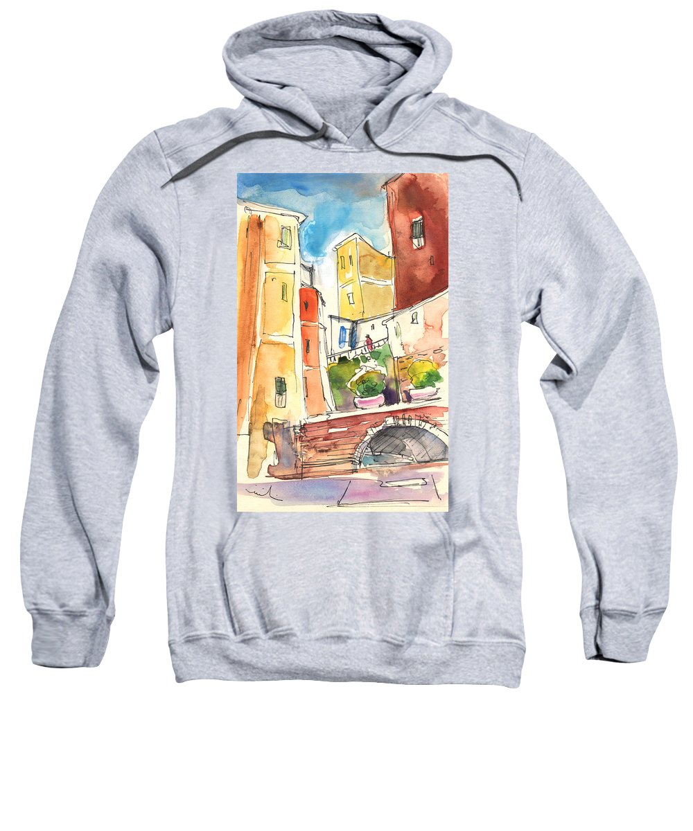 Italy Sweatshirt featuring the painting Vernazza In Italy 02 by Miki De Goodaboom