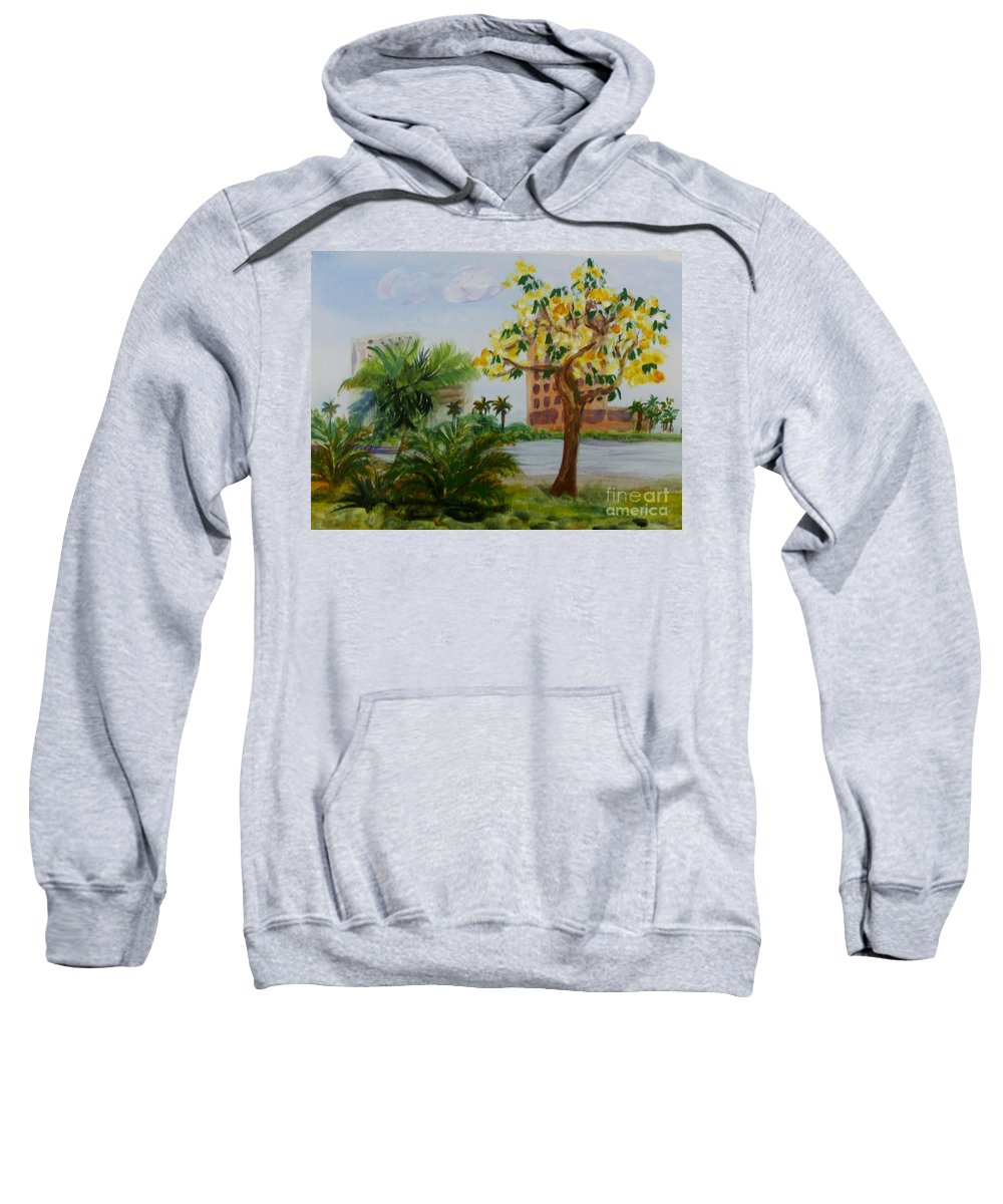 Delray Beach Sweatshirt featuring the painting Veterans Park In Delray Beach by Donna Walsh