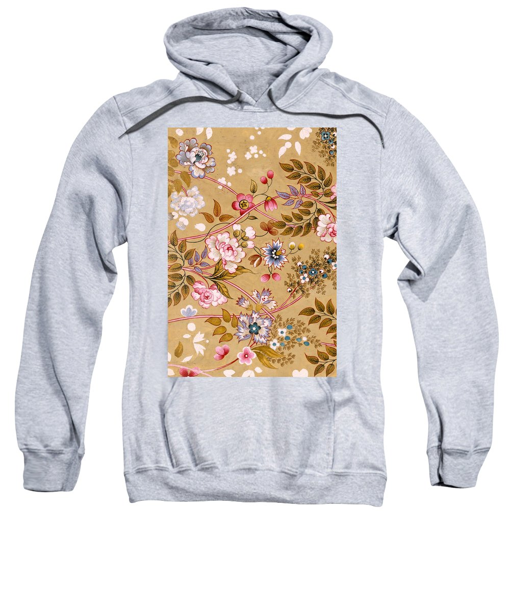 Textile Sweatshirt featuring the painting Victorian Floral Pattern Phone Case by English School
