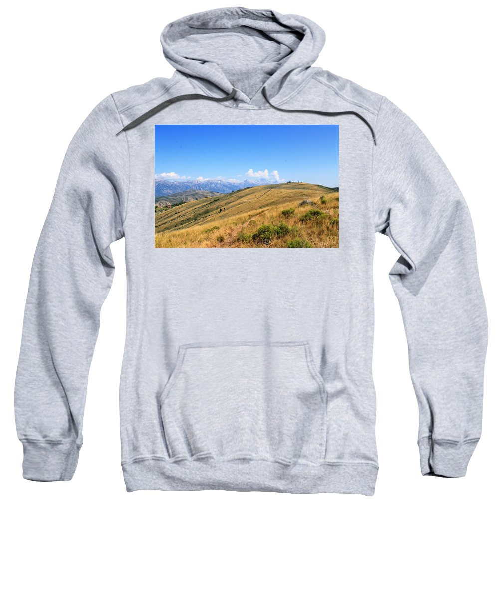 Grand Teton Mountains Sweatshirt featuring the photograph View From A Horse by Catie Canetti