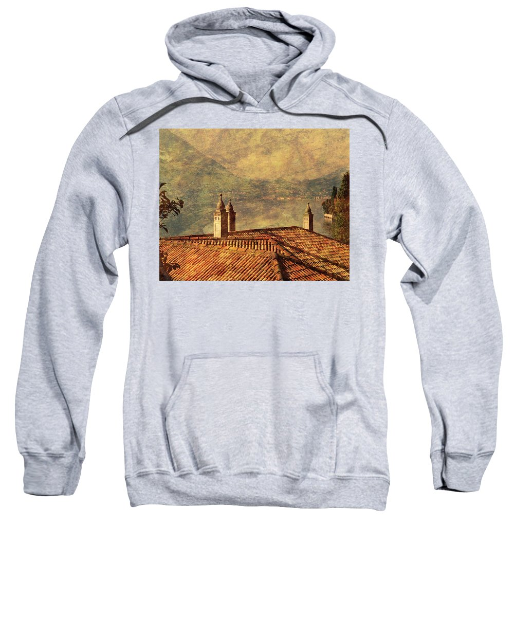 Lake Como Sweatshirt featuring the photograph View Of Lake Como Over The Rooftop Of Villa Monastero by Greg Matchick